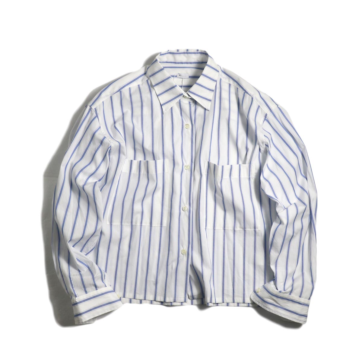 MY_ / Cropped Stripe Shirt -White Stripe