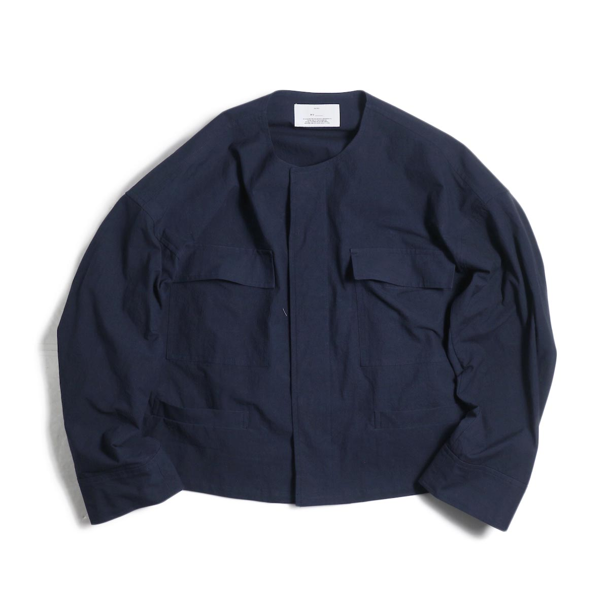 MY_ / No Collar Fatigue Blouson -Navy