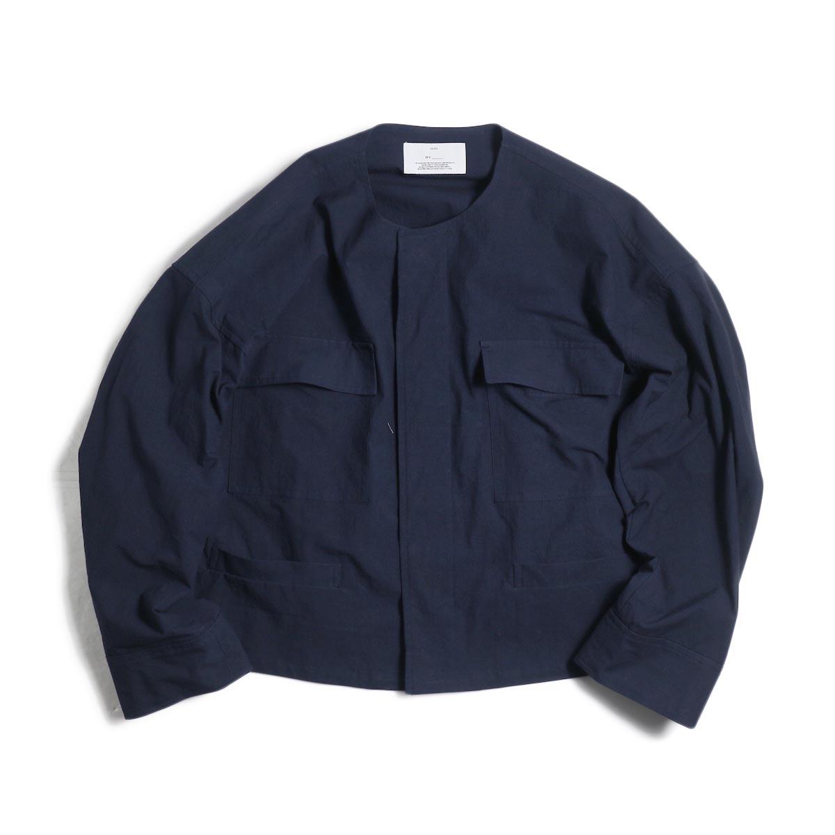 MY_ / No Collar Fatigue Blouson -Navy