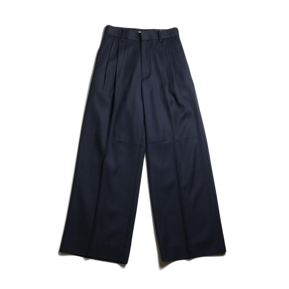 MY_ / 2TUCK WIDE SLACKS (Navy)正面