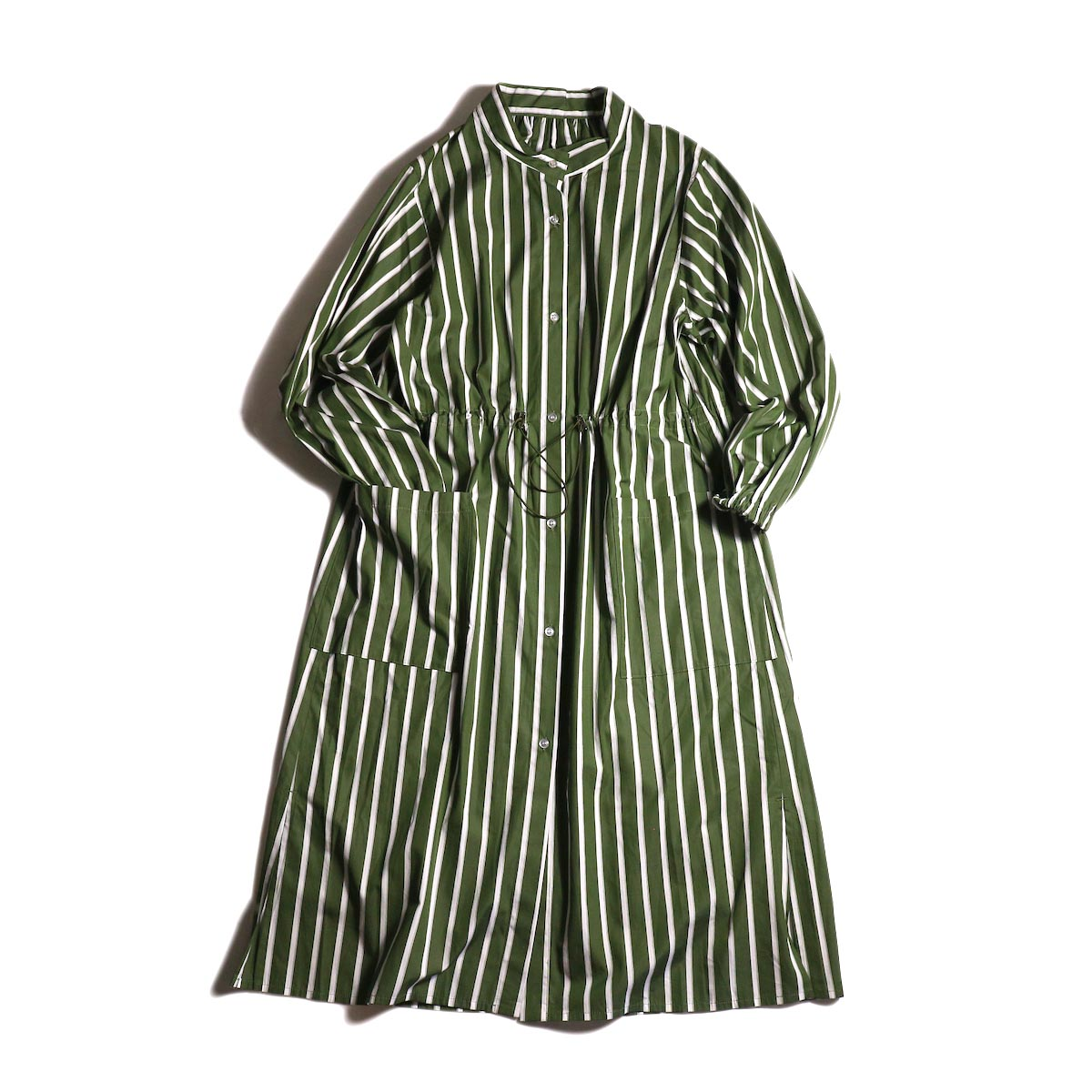 MY_ /  T/M DRAWSTRING SHIRT ONEPIECE (green stripe) 正面