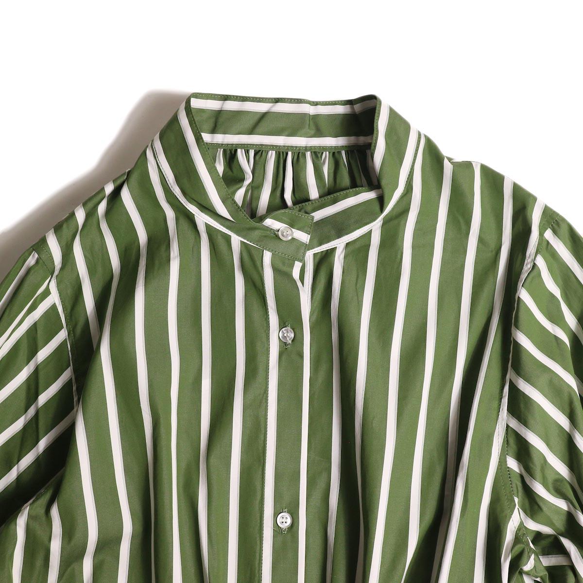 MY_ /  T/M DRAWSTRING SHIRT ONEPIECE (green stripe) 正面アップ