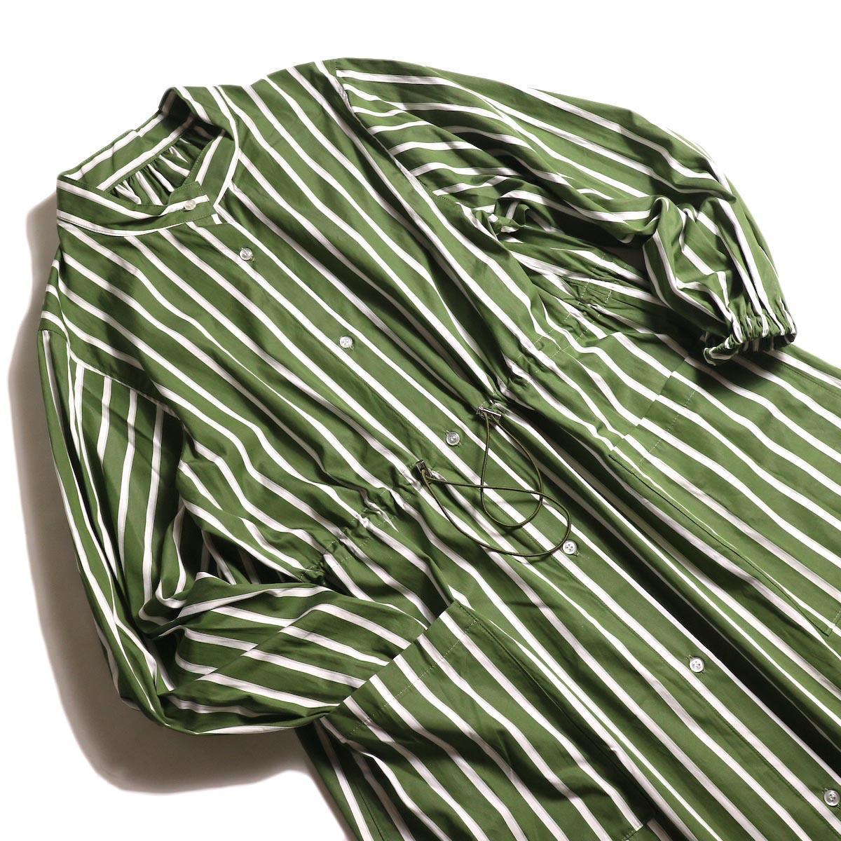 MY_ /  T/M DRAWSTRING SHIRT ONEPIECE (green stripe) 斜め