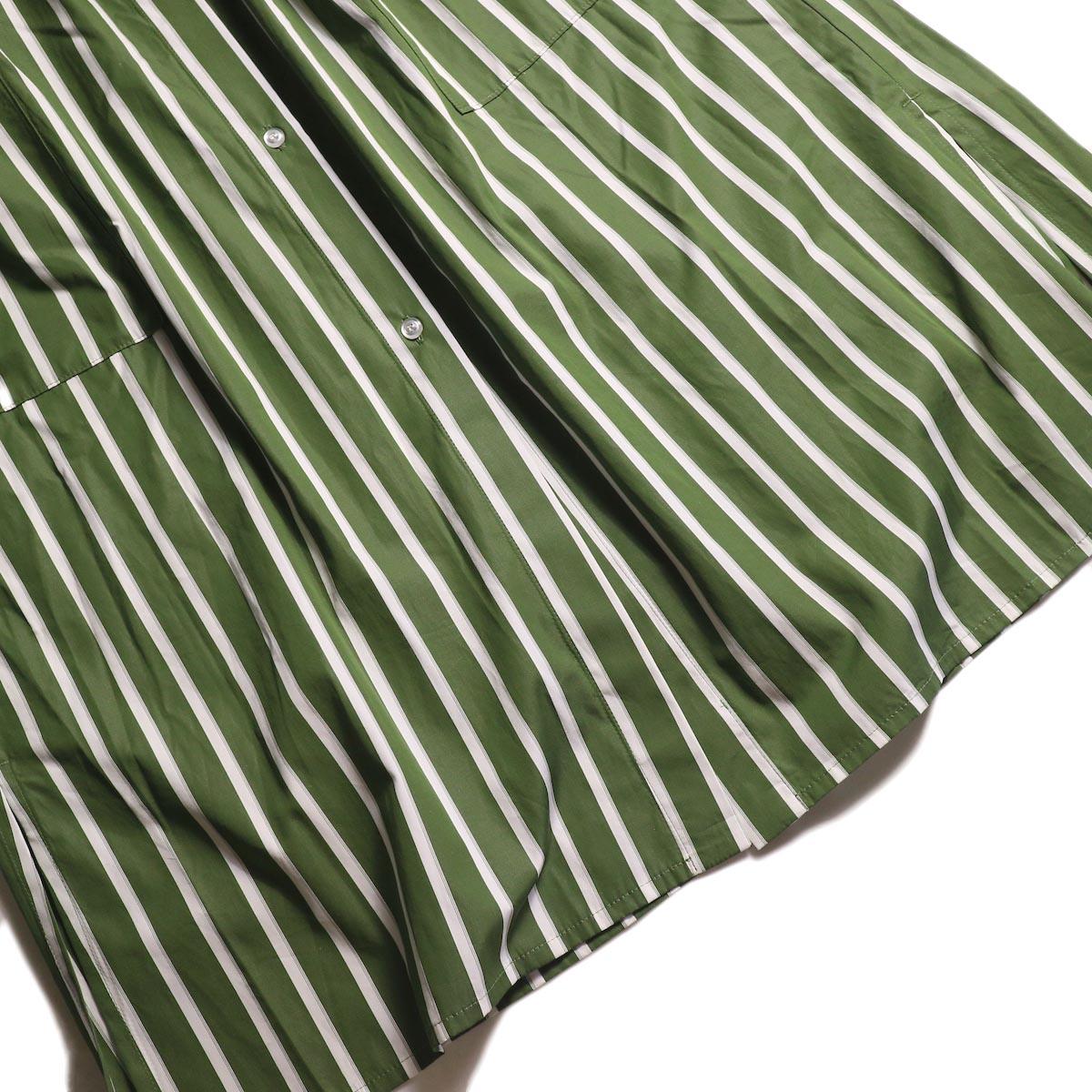 MY_ /  T/M DRAWSTRING SHIRT ONEPIECE (GREE STRIPE) 裾