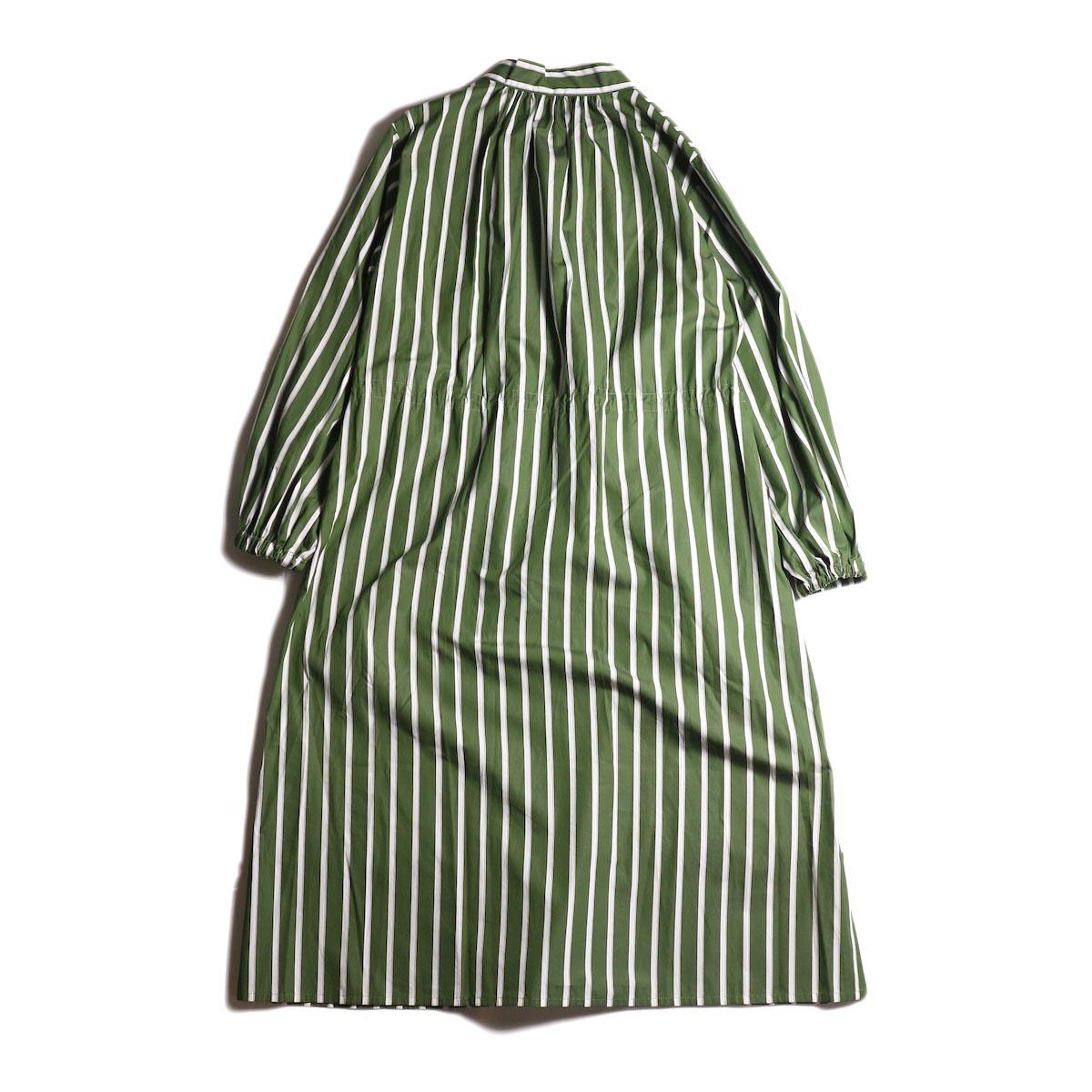 MY_ /  T/M DRAWSTRING SHIRT ONEPIECE (green stripe) 背面