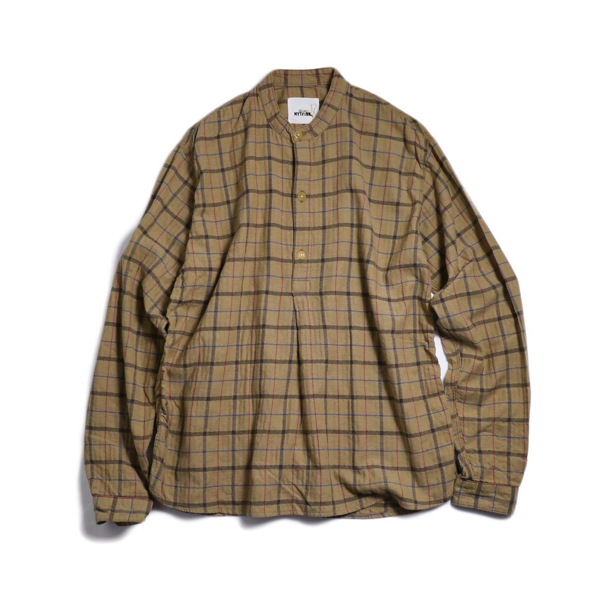 MYTHINKS (Men's) / MY Check Stand Collar Shirt -Beige