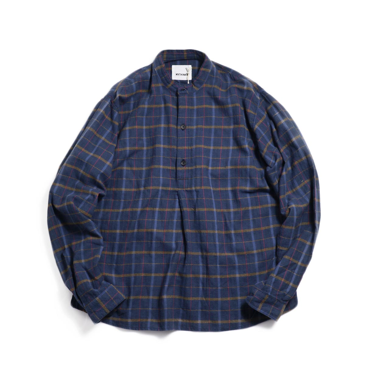 MYTHINKS (Men's) / MY Check Stand Collar Shirt -Navy