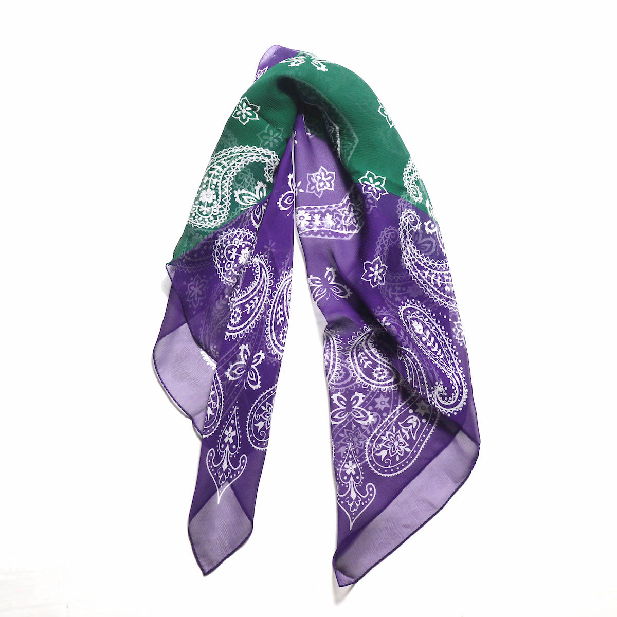 "Needles / 2 Tone Bandana Scarf - Silk Crepe"" -Green×Purple"