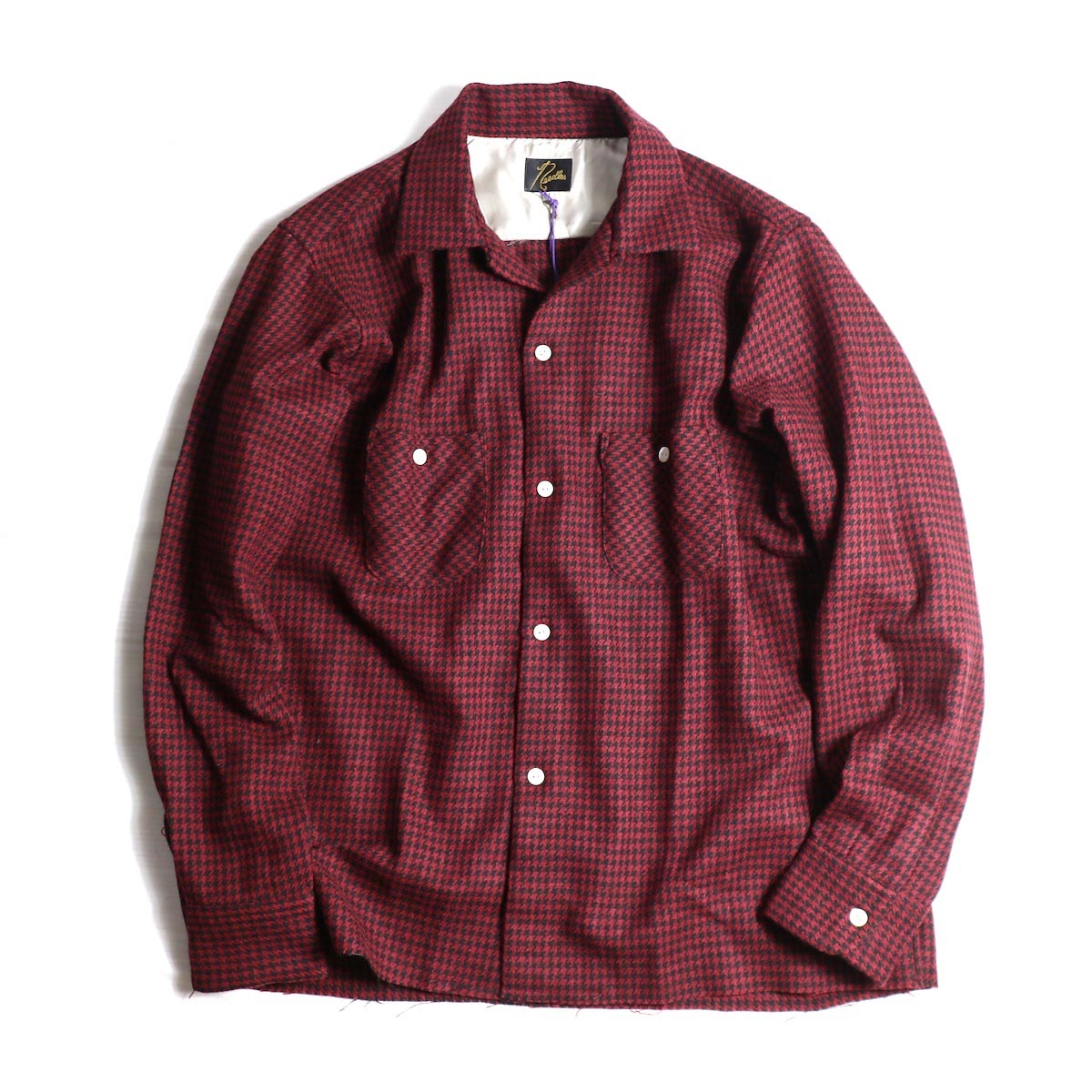 NEEDLES / CUT-OFF BOTTOM ONE-UP SHIRT (RED)