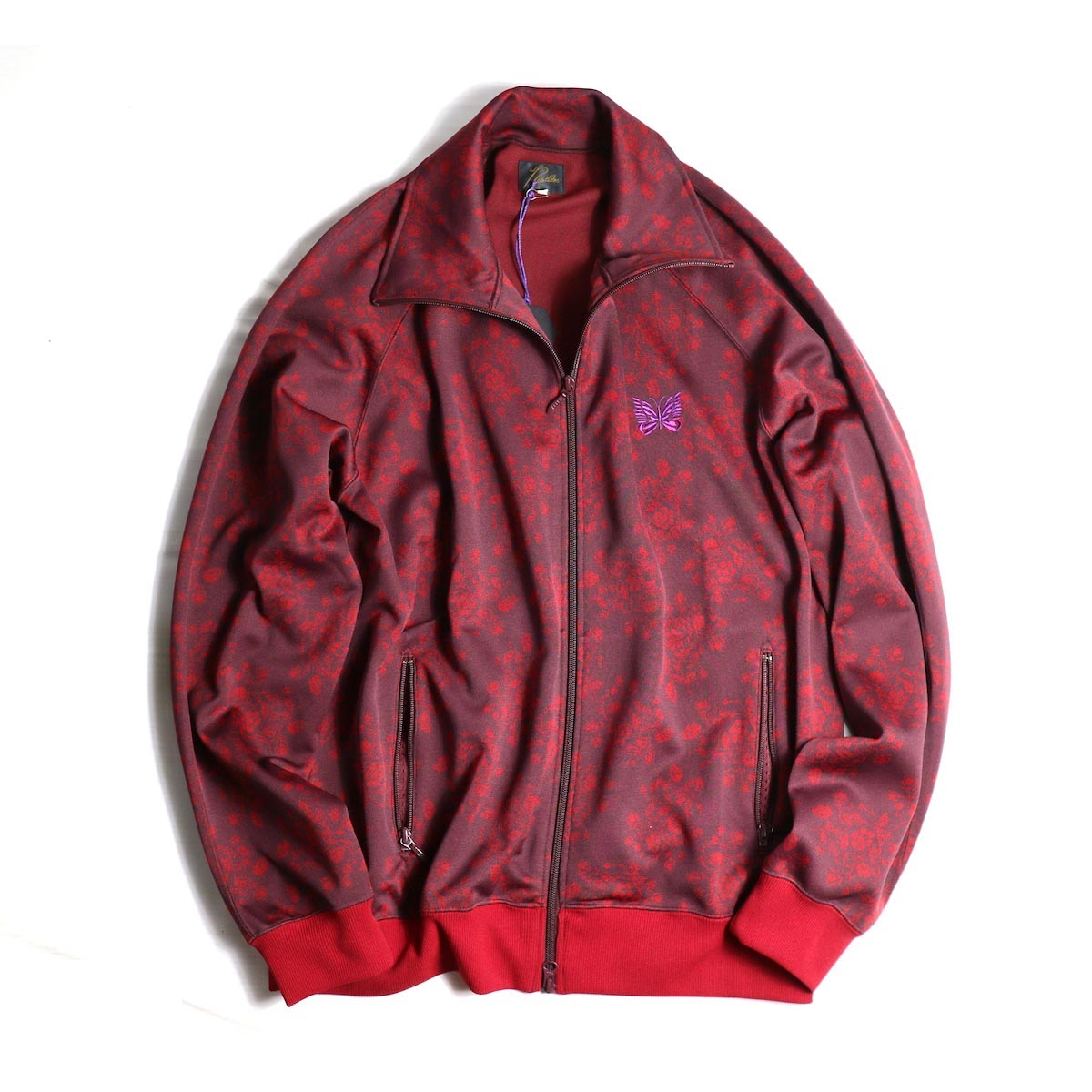 NEEDLES / TRACK JACKET - POLY JACQUARD / FLOWER (RED)