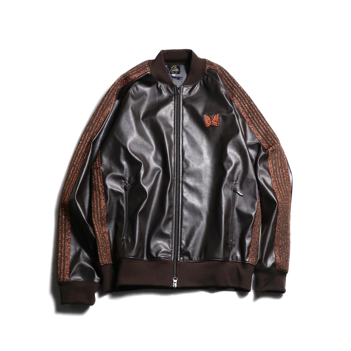 Needles / Rib Collar Track Jacket -Synthetic Leather / Lame Tape