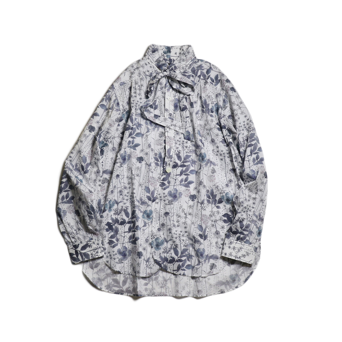 Needles / Ascot Collar EDW Gather Shirt -Liberty Print (Gray Flower)