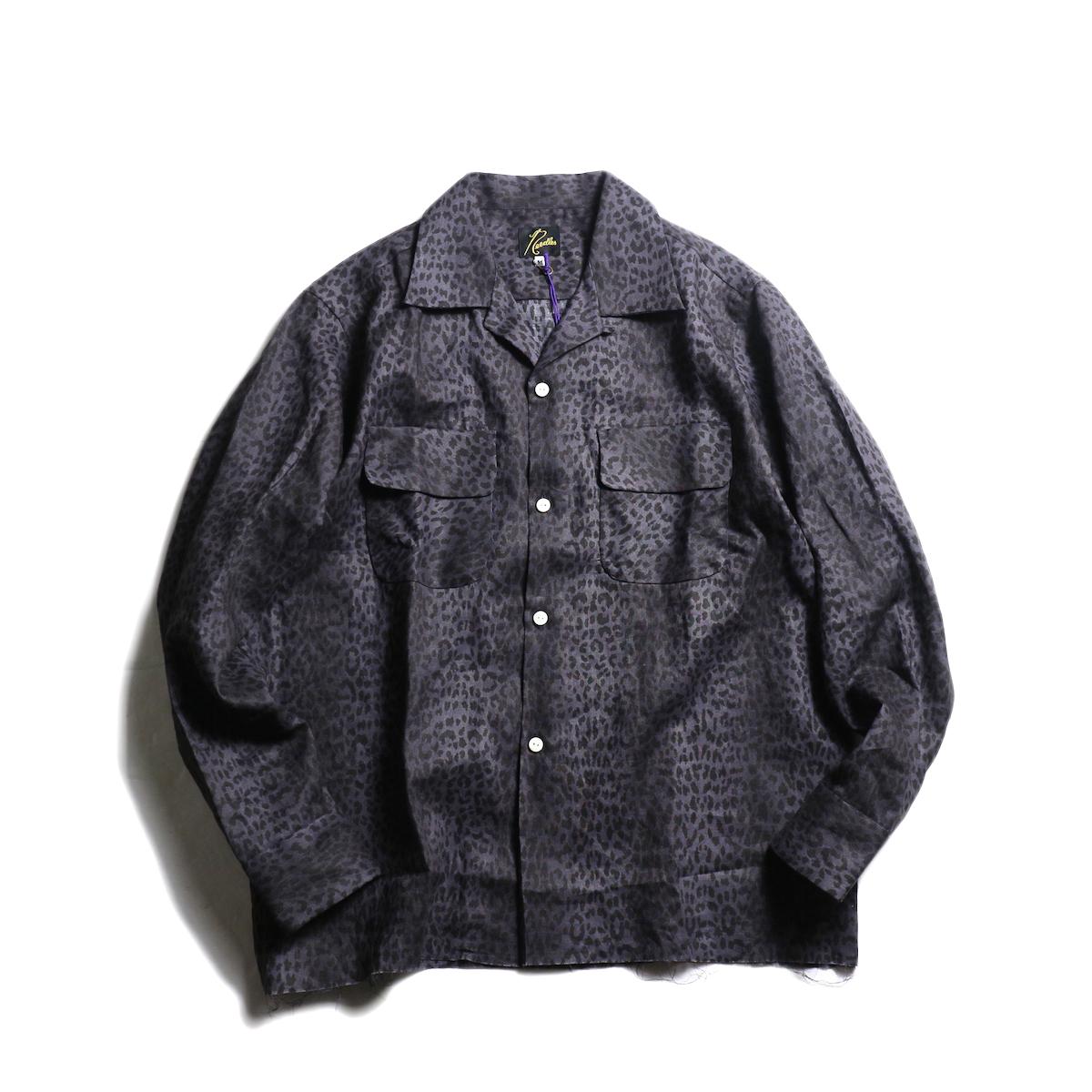 NEEDLES / Cut-Off Bottom Classic Shirt -Linen Cloth / Leopard Print (Gray)
