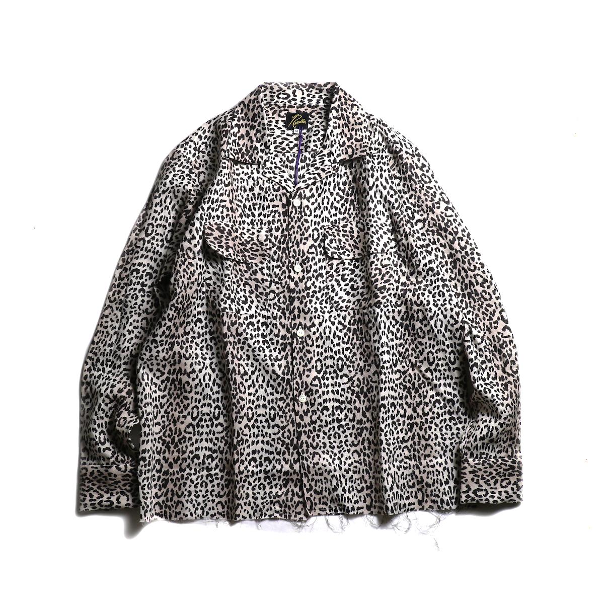 NEEDLES / Cut-Off Bottom Classic Shirt -Linen Cloth / Leopard Print (Off White)