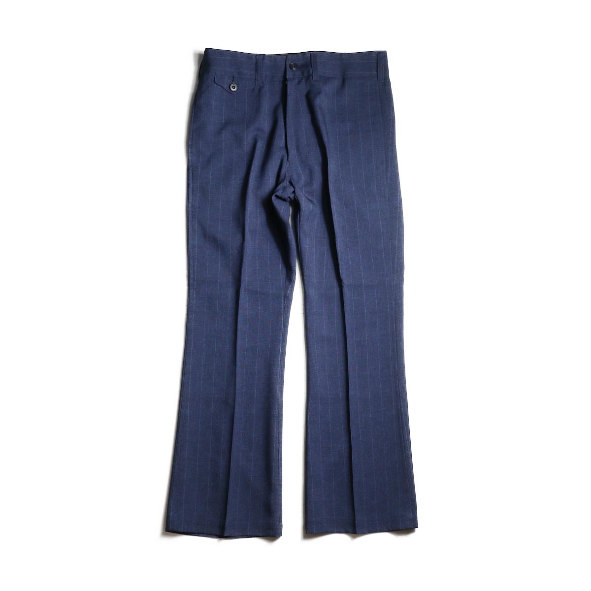 Needles / Flap Pocket Boot-Cut Trouser -Tropical Poly Cloth (Nvy/Stripe)