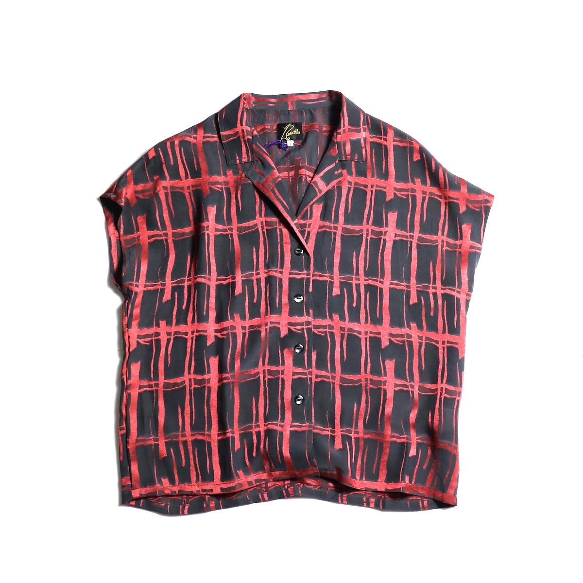Needles / French Sleeve Blouse -Cu/Ac Jacquard / Plaid (Charcoal)
