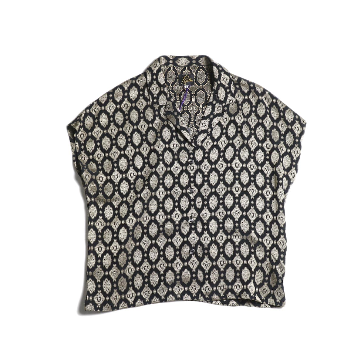 Needles / French Sleeve Blouse -Cu/Ac Jacquard / Fine Pattern (Navy)