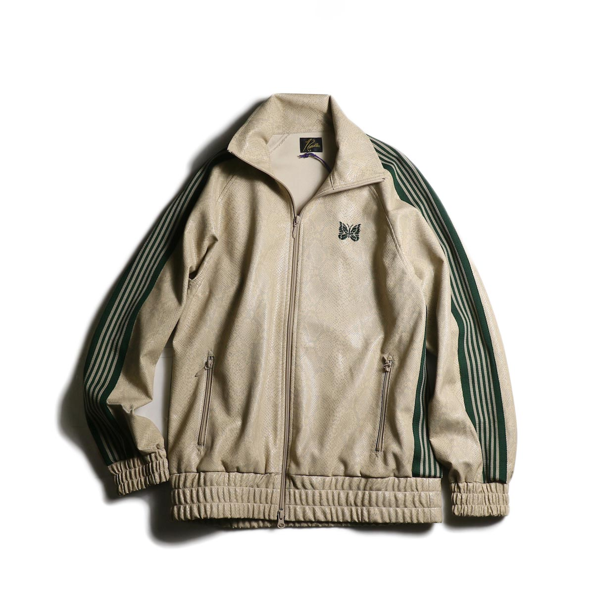 Needles / Track Jacket - Synthetic Leather/Python (Beige)