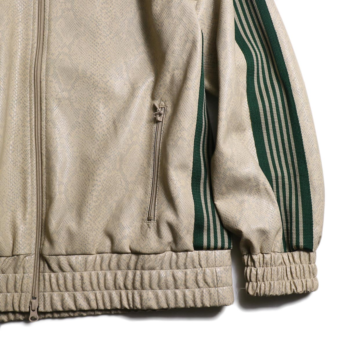 Needles / Track Jacket - Synthetic Leather/Python (Beige)袖、裾