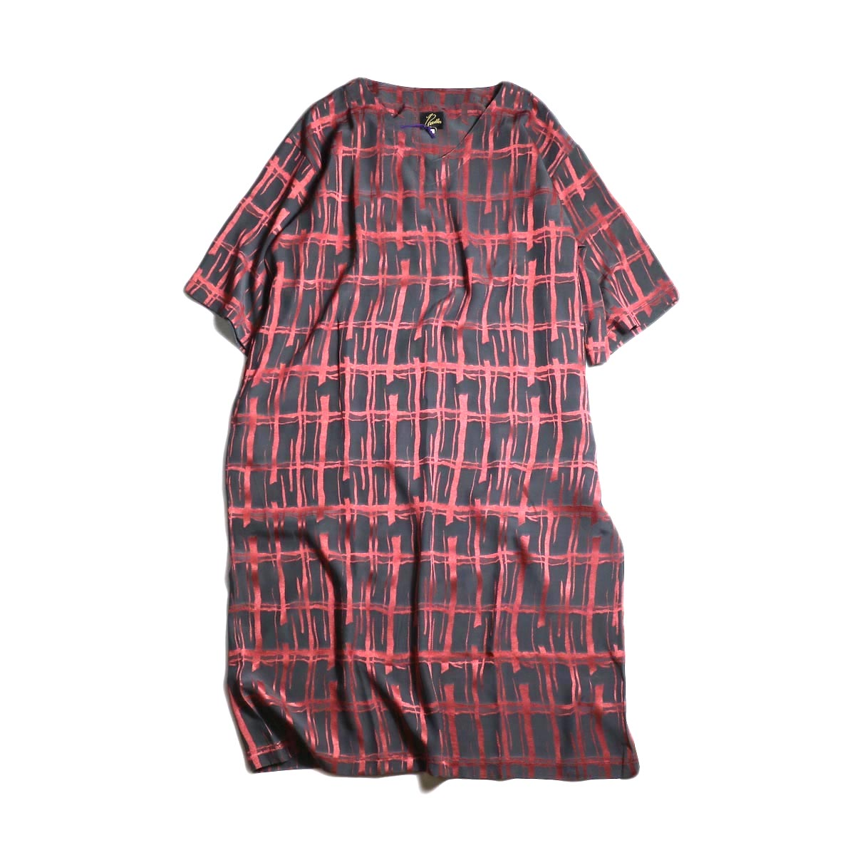 Needles / V Neck Dress-Cu/Ac Jacquard / Plaid (Charcoal)