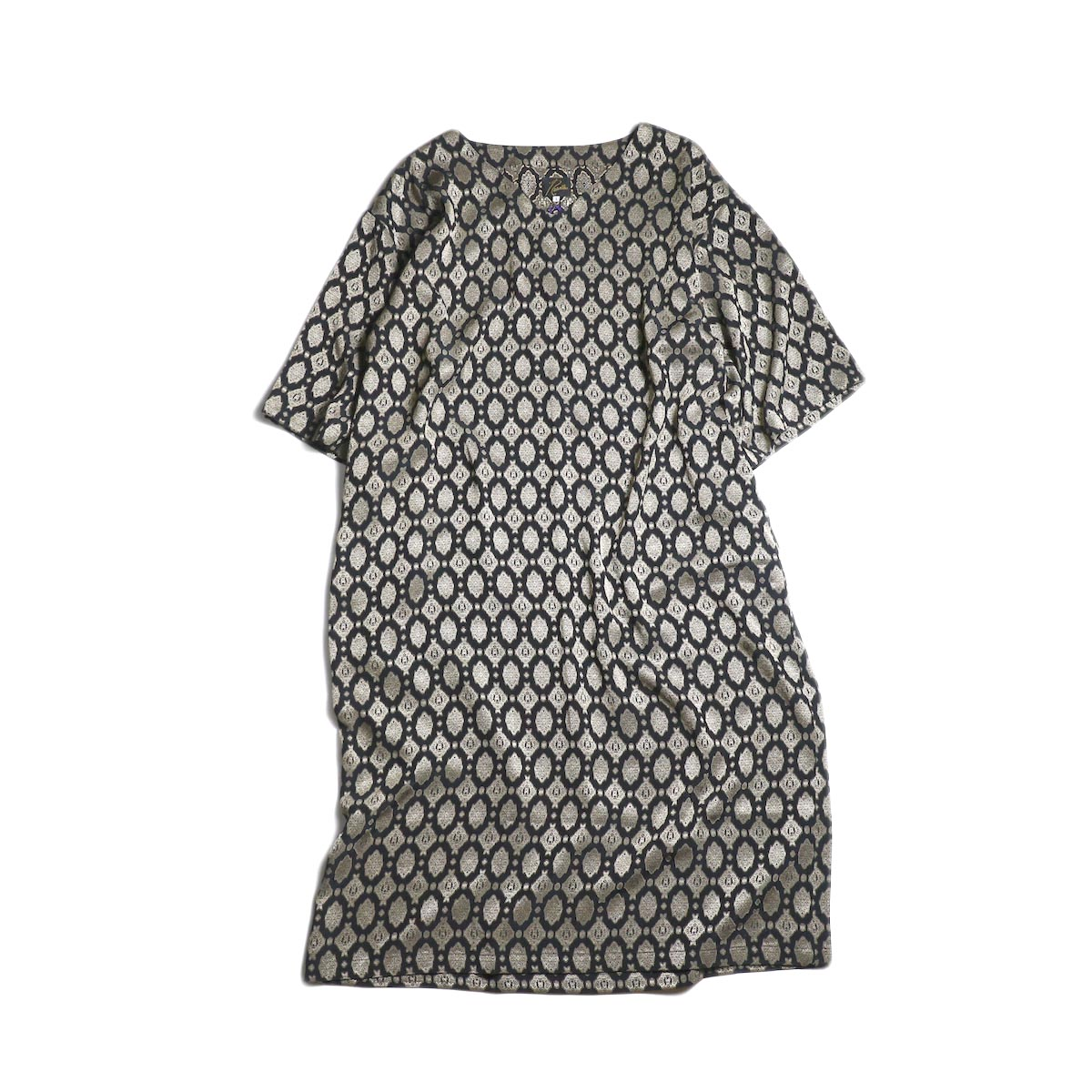 Needles / V Neck Dress-Cu/Ac Jacquard / Fine pattern (Navy)
