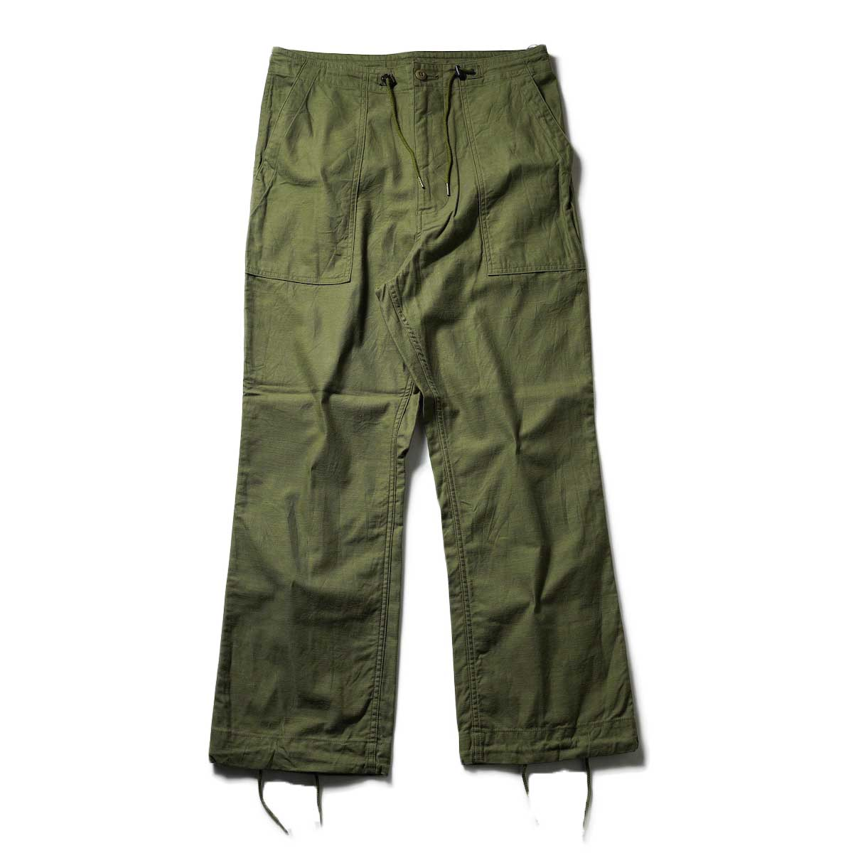 Needles / STRING FATIGUE PANT - BACK SATEEN (Olive)正面