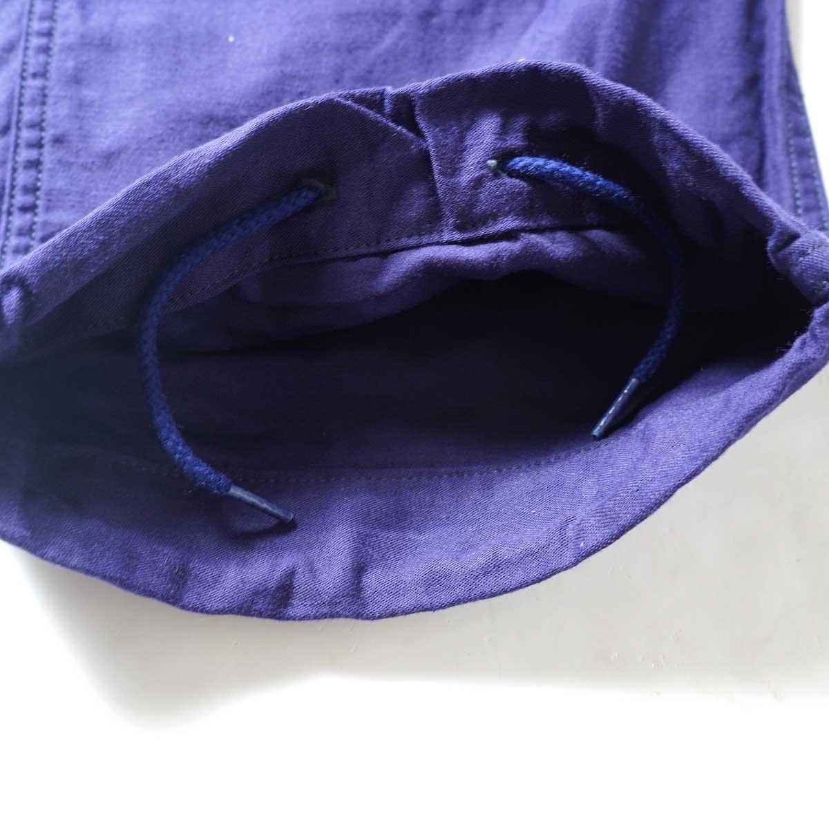 Needles / STRING FATIGUE PANT - BACK SATEEN (Navy)裾内側
