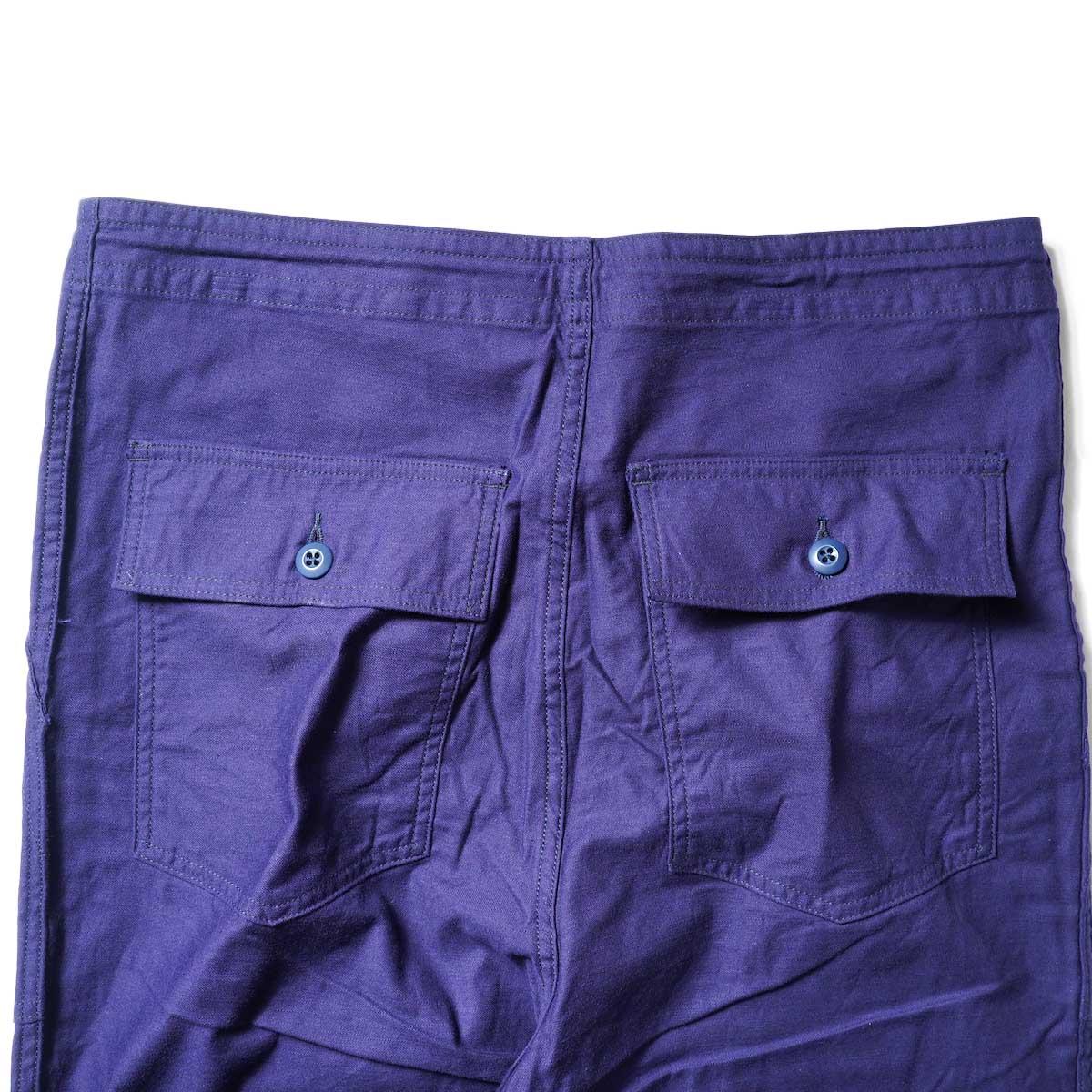 Needles / STRING FATIGUE PANT - BACK SATEEN (Navy)ヒップポケット