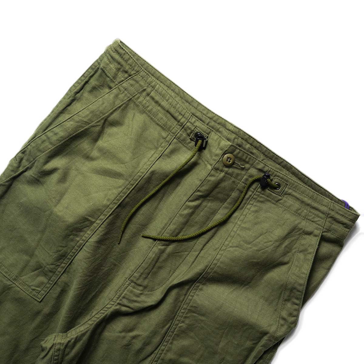 Needles / STRING FATIGUE PANT - BACK SATEEN (Olive)ウエスト