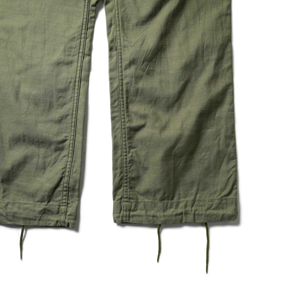 Needles / STRING FATIGUE PANT - BACK SATEEN (Olive)裾