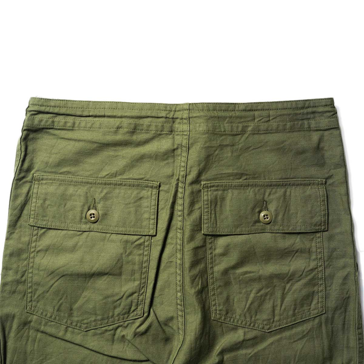Needles / STRING FATIGUE PANT - BACK SATEEN (Olive)ヒップポケット
