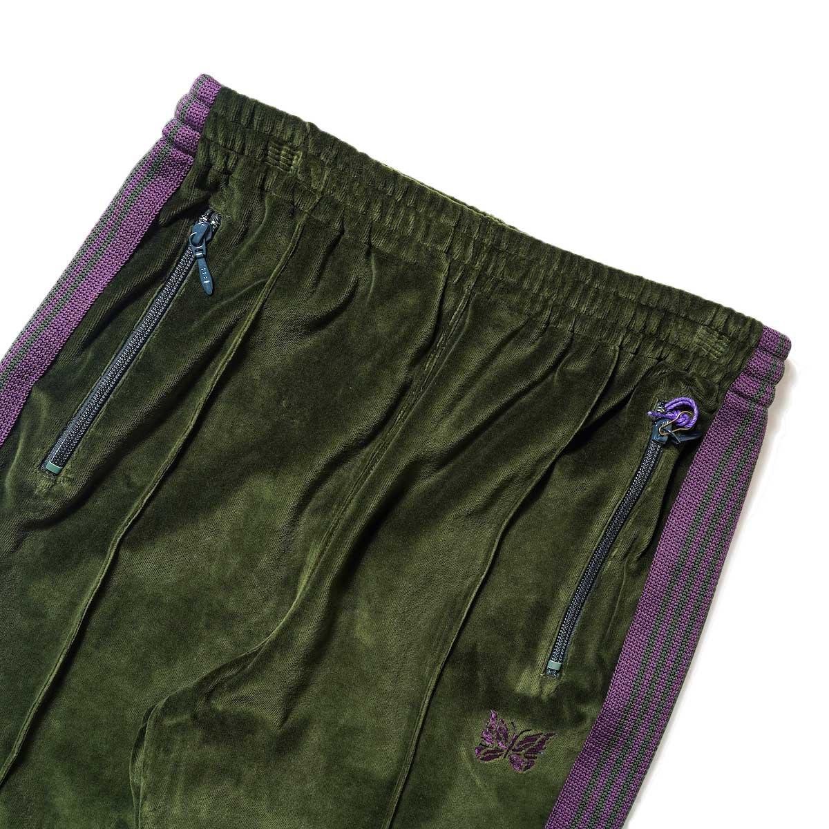 Needles / NARROW TRACK PANT - C/PE VELOUR (Green)ウエスト