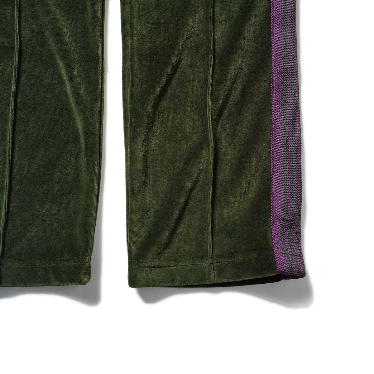 Needles / NARROW TRACK PANT - C/PE VELOUR (Green)裾