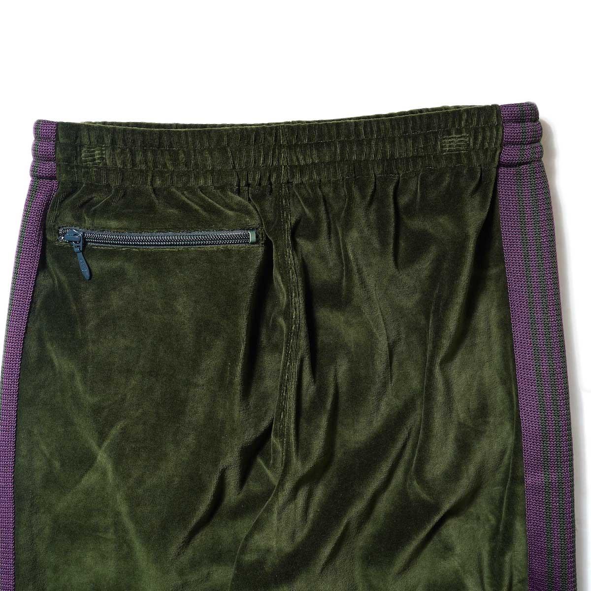 Needles / NARROW TRACK PANT - C/PE VELOUR (Green)ヒップポケット