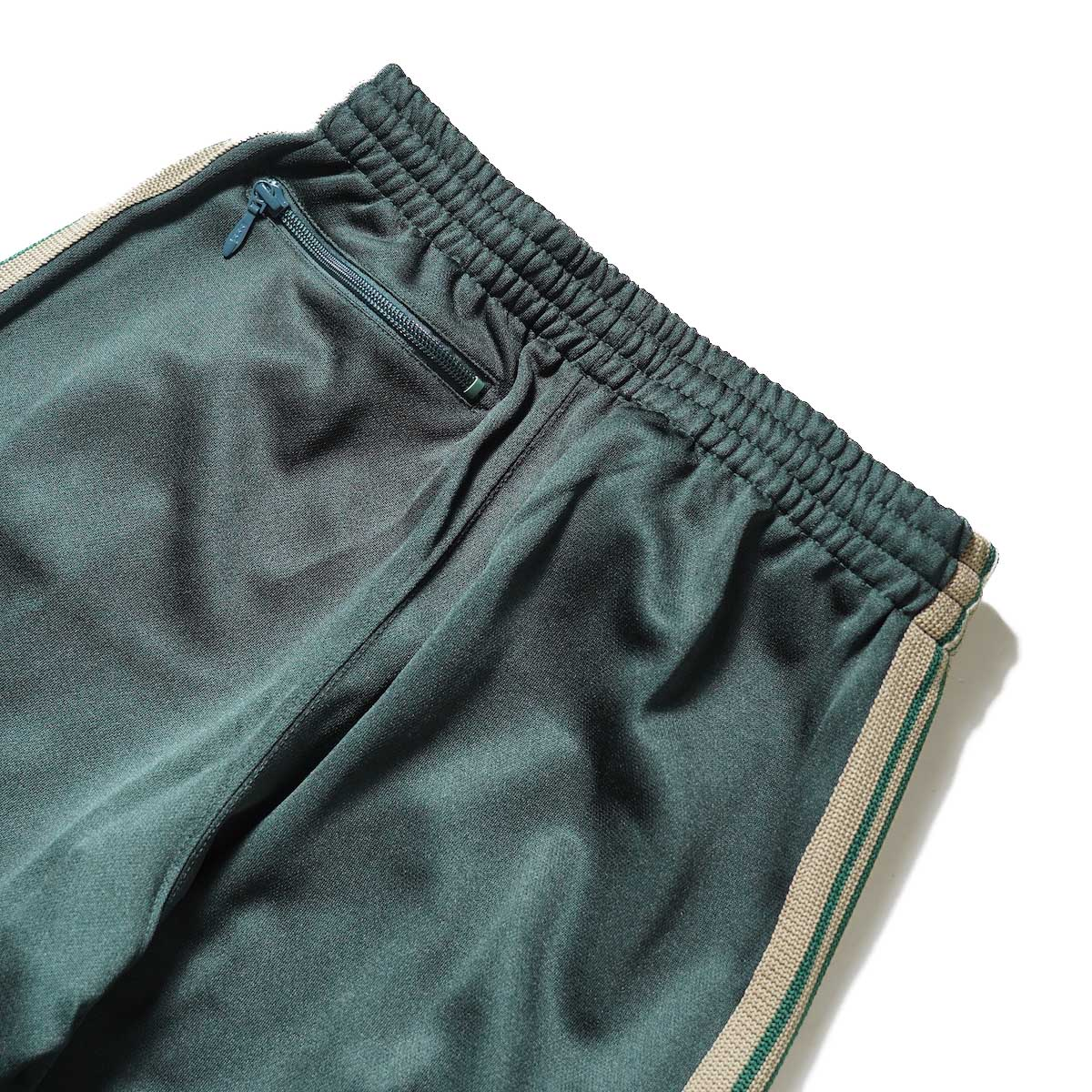 Needles / Boot-Cut Track Pant -Poly Smooth (Dk.Green)ヒップポケット