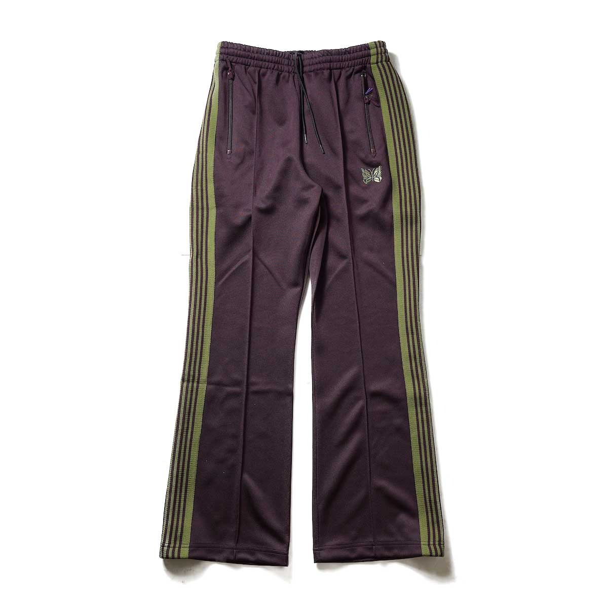 Needles / Boot-Cut Track Pant -Poly Smooth (Maroon)