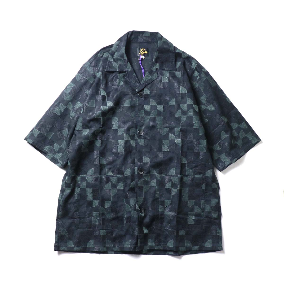 Needles / Cabana Shirt  - Circle Emb. (Black)