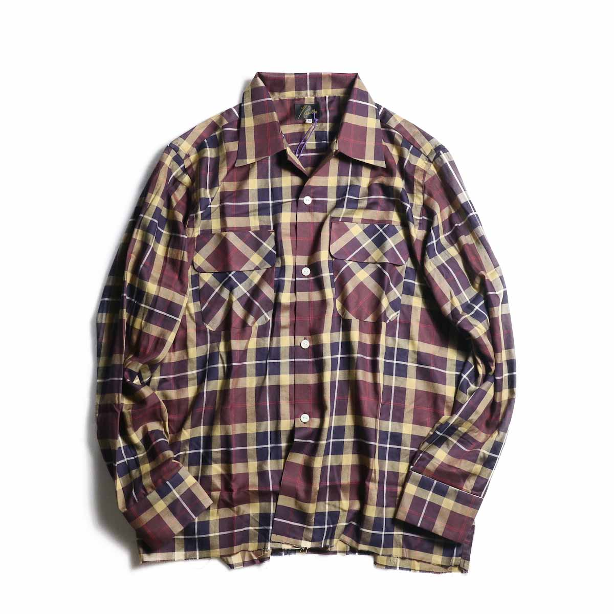 NEEDLES / Cut-Off Bottom Classic Shirt -r/c Plaid Twill (Bordeaux)