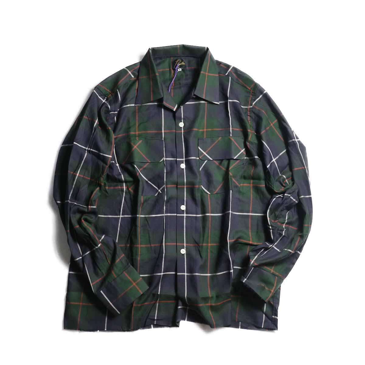 NEEDLES / Cut-Off Bottom Classic Shirt -r/c Plaid Twill (Navy)