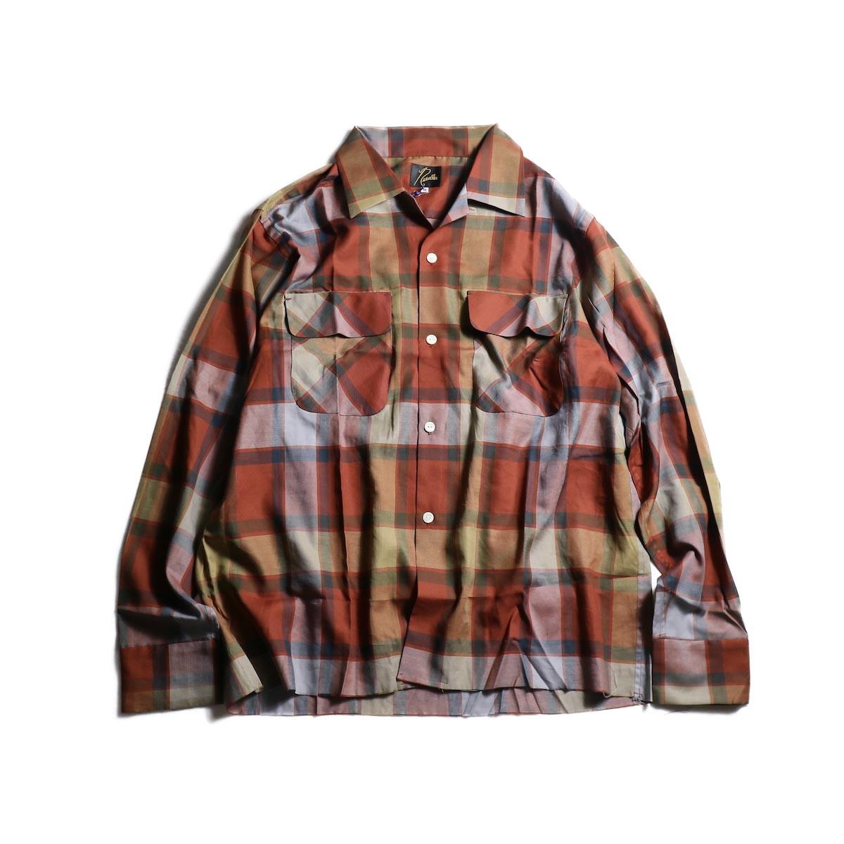 NEEDLES / Cut-Off Bottom Classic Shirt -C/R/T Plaid Twill (Rust)