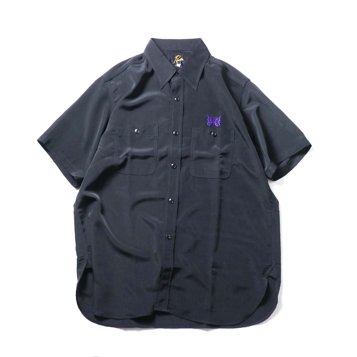 Needles / S/S Work Shirt - Poly Cloth (Black)