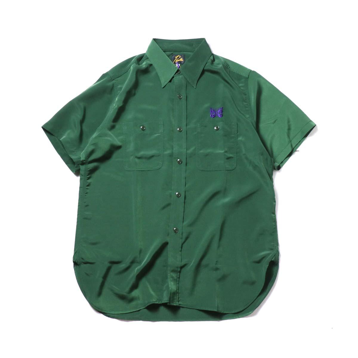 Needles / S/S Work Shirt - Poly Cloth (Green)