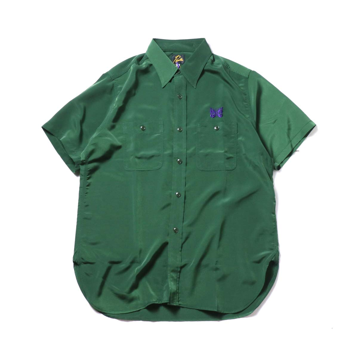 Needles / S/S Work Shirt - Poly Cloth (Green)