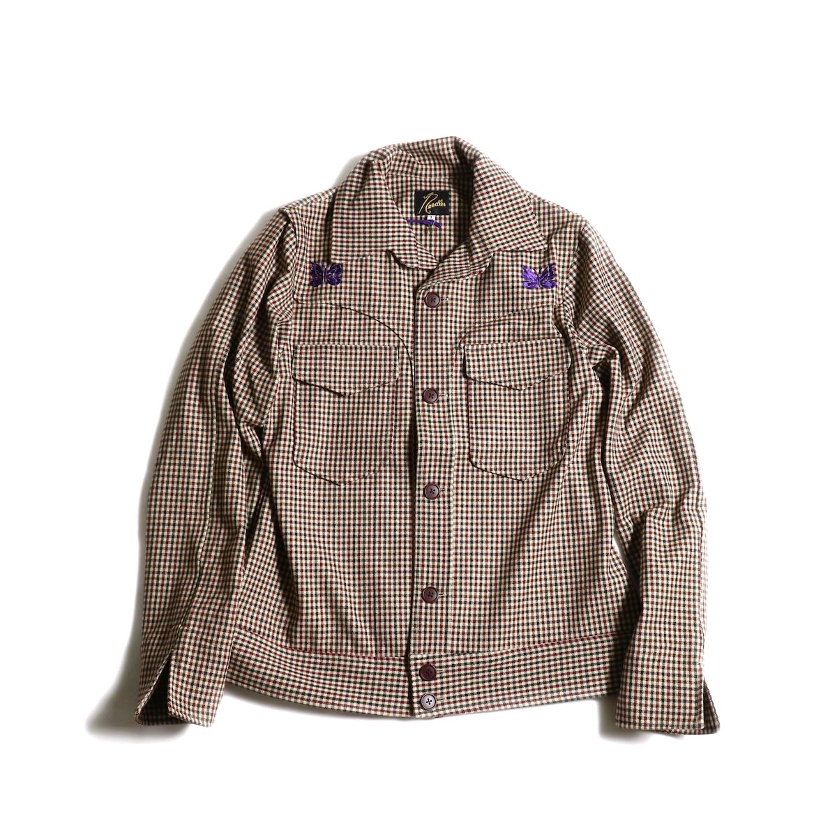 Needles / Cowboy Leisure Jacket -Gunclub Plaid (Bordeaux)正面