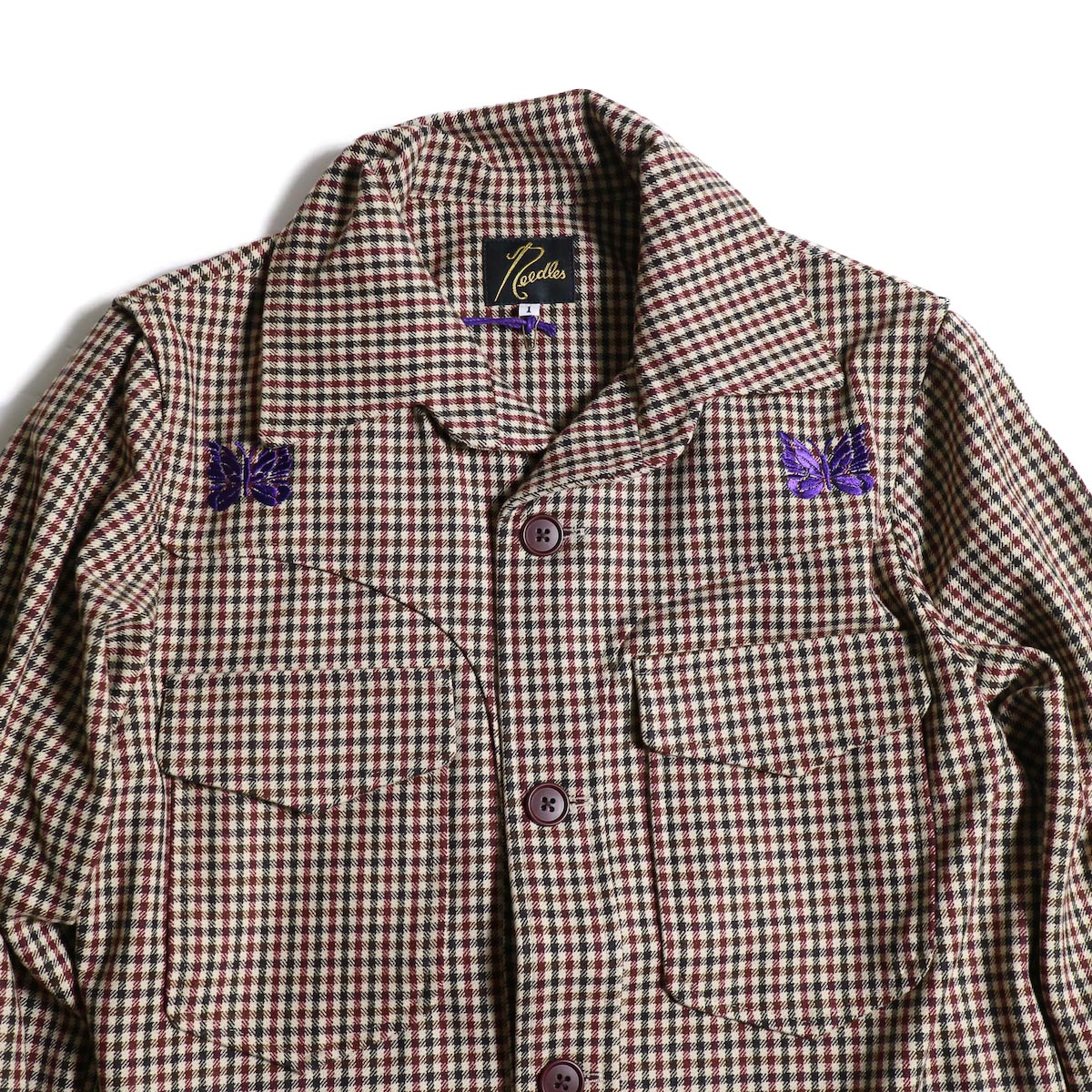 Needles / Cowboy Leisure Jacket -Gunclub Plaid (Bordeaux)パピヨン、ポケット