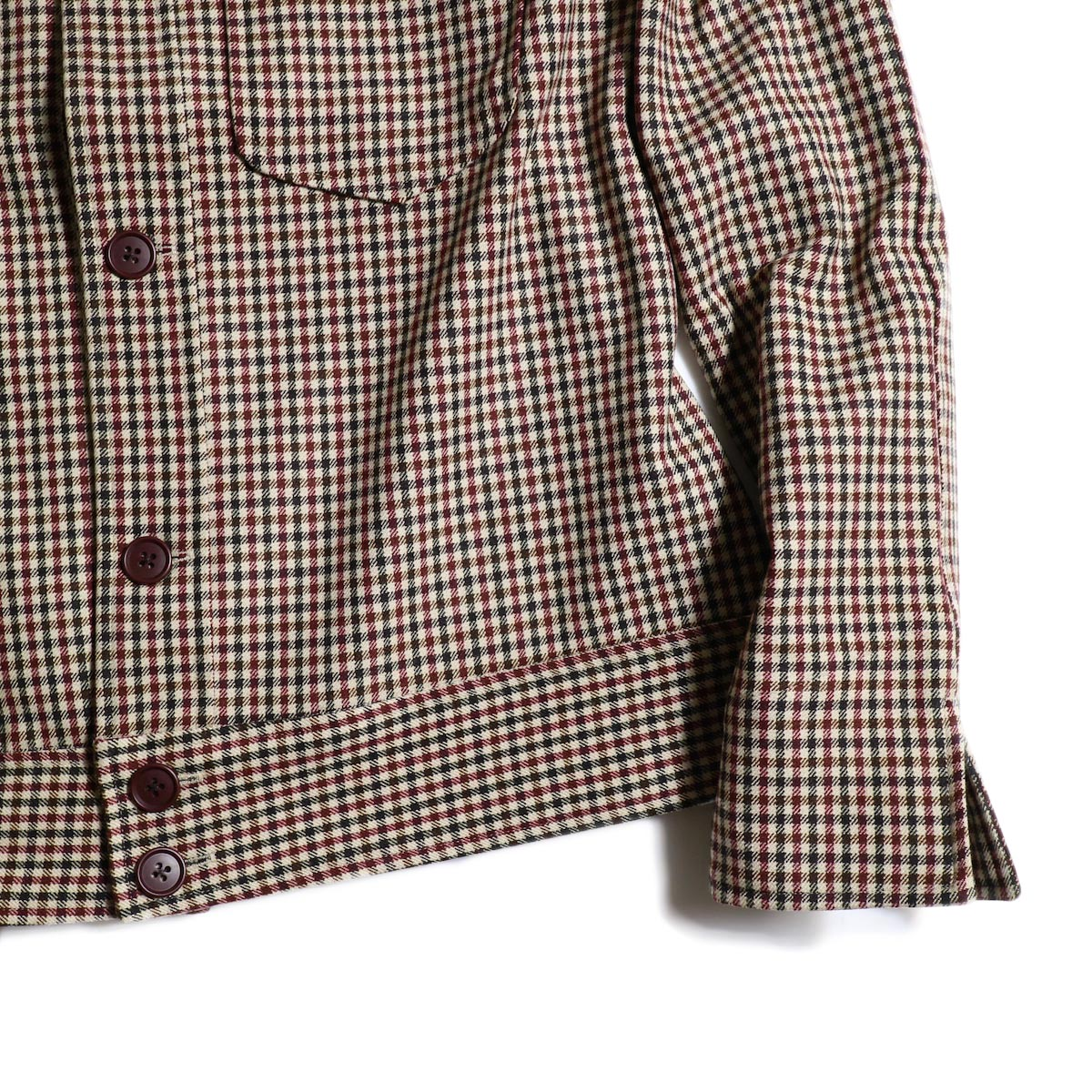 Needles / Cowboy Leisure Jacket -Gunclub Plaid (Bordeaux)袖、裾