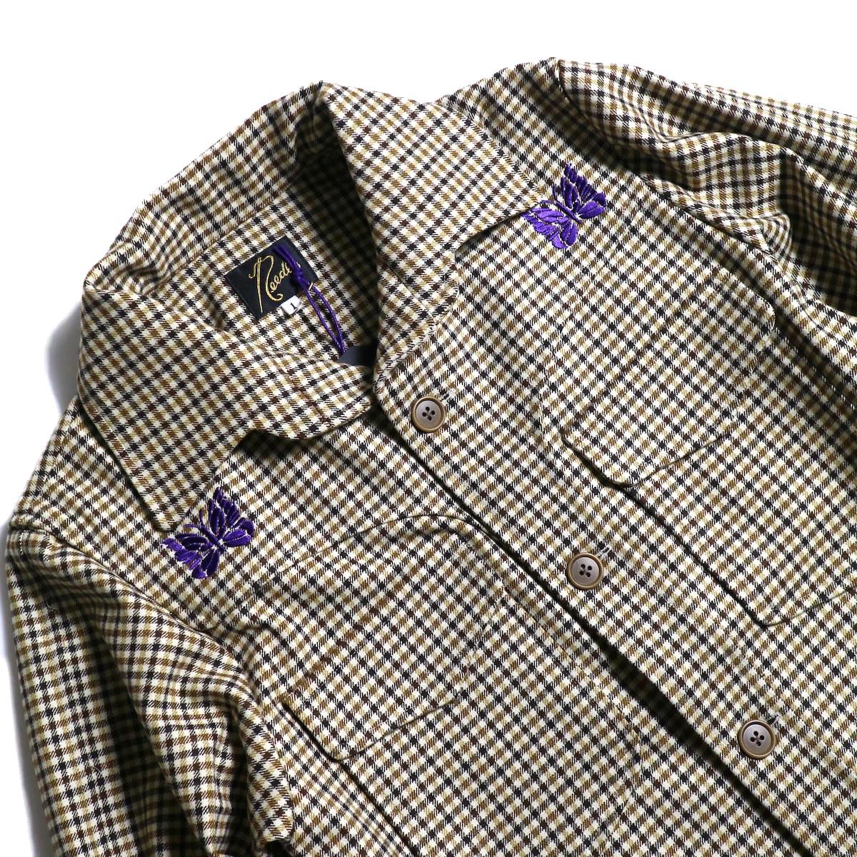 Needles / Cowboy Leisure Jacket -Gunclub Plaid (Yellow)パピヨン、ポケット