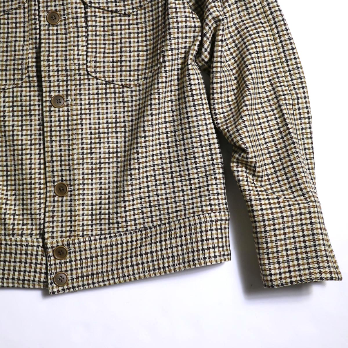 Needles / Cowboy Leisure Jacket -Gunclub Plaid (Yellow)袖、裾