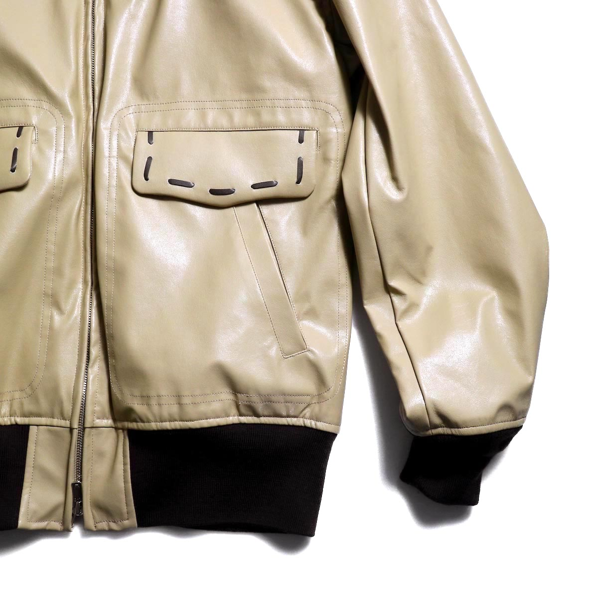 NEEDLES / G-1 Jacket -Synthetic Leather ポケット,リブ
