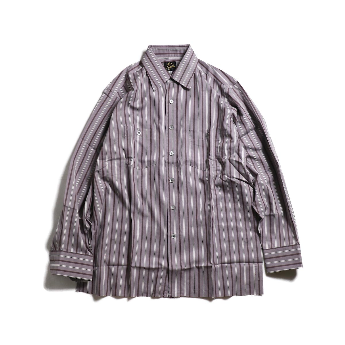 Needles / Cut-Off Bottom Regular Collar Shirt -Cotton Twill Stripe (Gray)